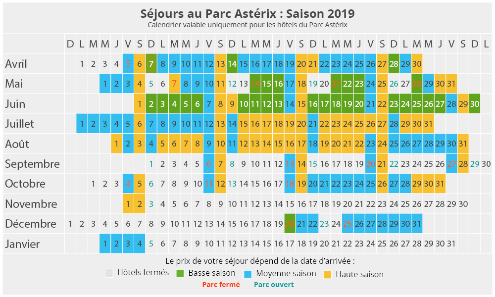 Calendrier Prix.Ooparc Parc Asterix Bons Plans Et Billets Pas Cher